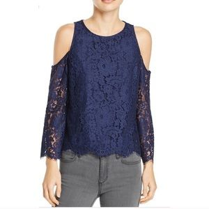 Joie $238 Notte Navy Abay Top Size Small NWT Lace